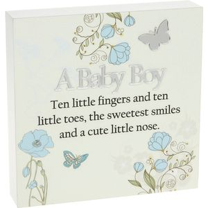 Floral Design Wall Art Plaque - A Baby Boy