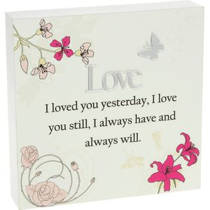 Floral Design Wall Art Plaque - Love