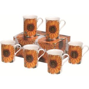 Heath McCabe Sunflower set of 6 Fine Bone China Mugs