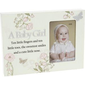 A Baby Girl Floral Reflection Photo Frame