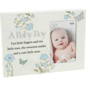 "Reflections Floral Photo Frame 4x6"" - A Baby Boy"