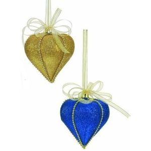 Blue & Gold Festive Christmas Tree Decorations x4