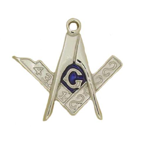 Masonic G Brooch with Blue Enamel