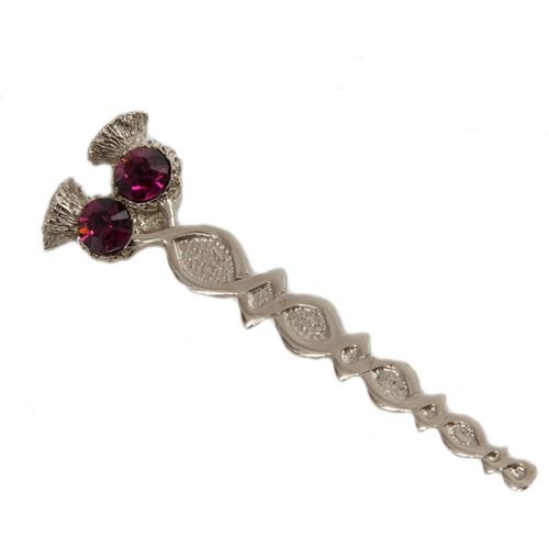 Thistle kilt pin with two glass amethyst stones