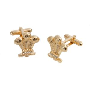 Three Feathers cufflinks set with crystals