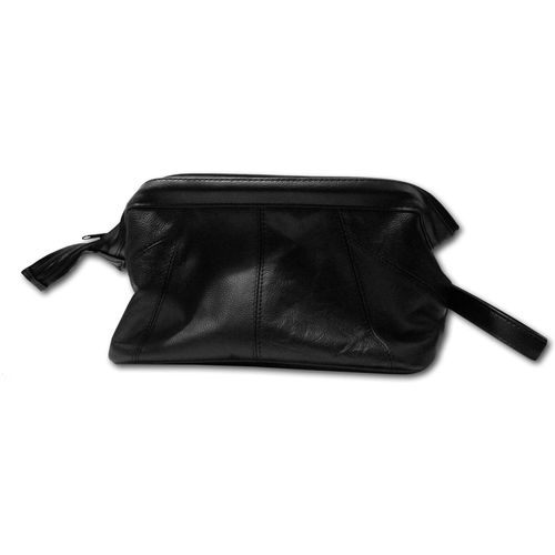 Black Leather Wash Bag with Gladstone Style Frame