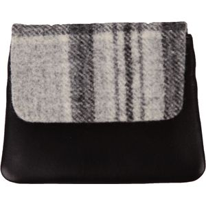 Mala Leather Abertweed Flap Over Coin Purse - Grey Tweed