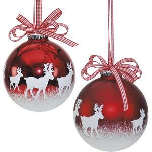 Reindeer Red & White Christmas Baubles x2