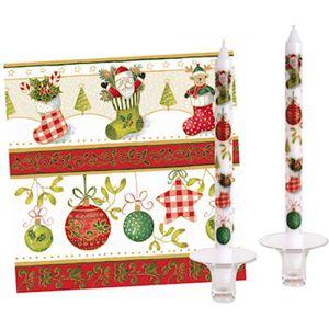 Christmas Tableware - Set of 20 Napkins & 2 Dinner Candles Festive Delight
