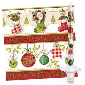 Festive Delight 20 Napkins & 2 Dinner Table Candles