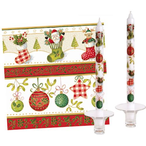 Christmas Table Set (20 Napkins with 2 Dinner Candles) - Festive Delight
