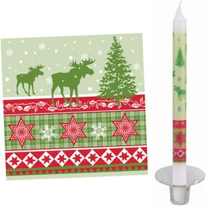 Nordic Christmas Tableware Set: Napkins & Candles