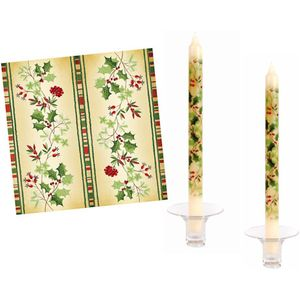 Christmas Tableware - Set of 20 Napkins & 2 Dinner Candles Festive Holly Design