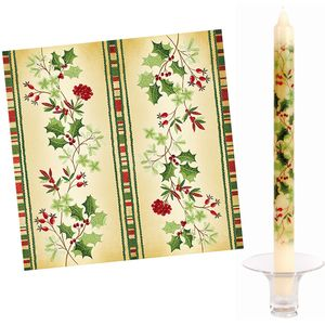 Festive Holly 20x Napkins & 2 Dinner Candles
