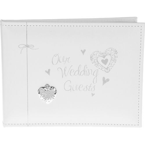 Our Wedding Day Guest Book with hearts design cover