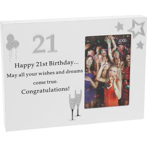 "Reflections Block Photo Frame 4x6"" - 21st Birthday"