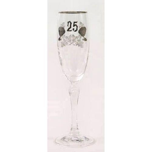25th Siver Wedding Anniversary Glass Flute