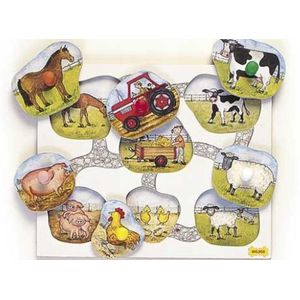 Lift & Look - Farm Animals Wooden Toy Puzzle