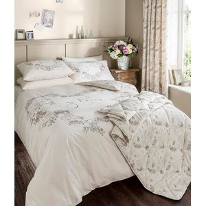 Catherine Lansfield Je taime Single Bed Quilt Cover Set - Cream