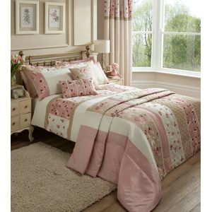 Catherine Lansfield Imogen Single Bed Quilt Cover Set - Pink