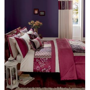 Catherine Lansfield Border Patchwork Plum Duvet Quilt Cover Set - Single Bed