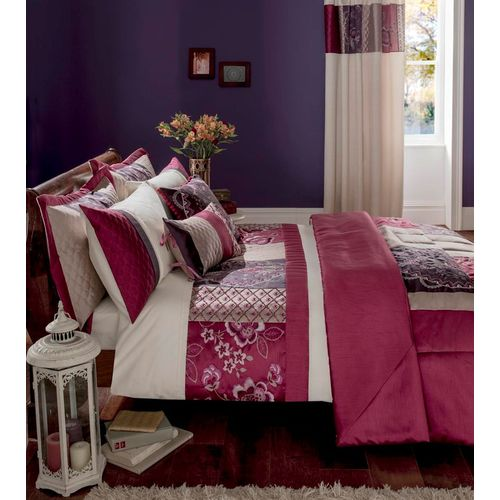 Catherine Lansfield Border Patchwork Single Bed Quilt Cover Set - Plum