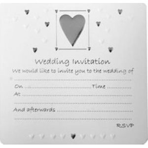 Wedding Invitations Pack of 10 - Silver Heart Design