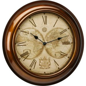 Hometime Wall Clock Gold Case & World Map Dial 30cms