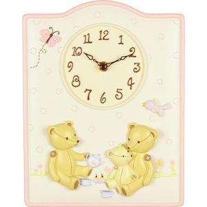 Babys Nursery Wall Clock Bears with Bird and Butterfly
