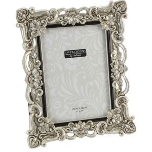 "Juliana Impressions Antique Silver Floral Design Photo Frame 5"" x 7"""