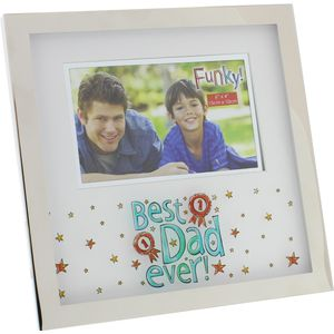 """Funky Photo Frame 6x4"""" - Best Dad Ever"""