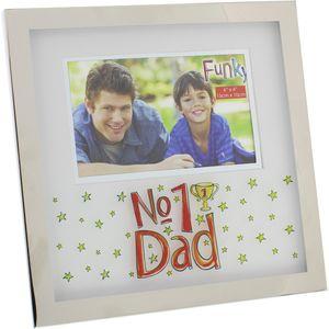 "Funky Photo Frame 6x4"" - No1 Dad"