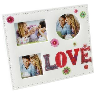 Vintage Fabric Collage Photo Frame - Love