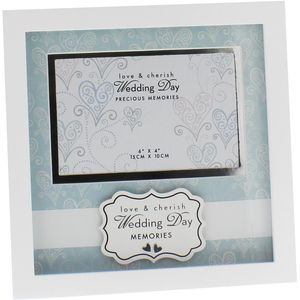 "Love & Cherish Photo Frame 6x4"" - Wedding Day"