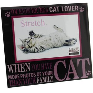 "Best of Breed Black Glass Photo Frame 6x4"" - Cat Lover"