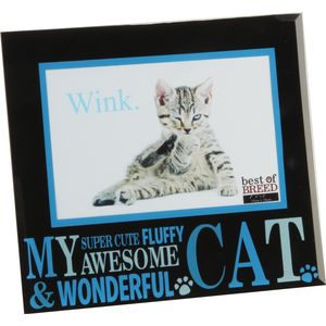 "Best of Breed Black Glass Photo Frame 6x4"" - My Awesome Cat"