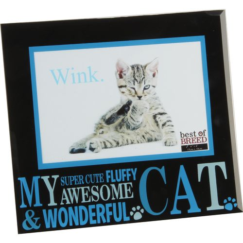 """Best of Breed Black Glass Photo Frame 6"""" x 4""""  - My Awesome Cat"""