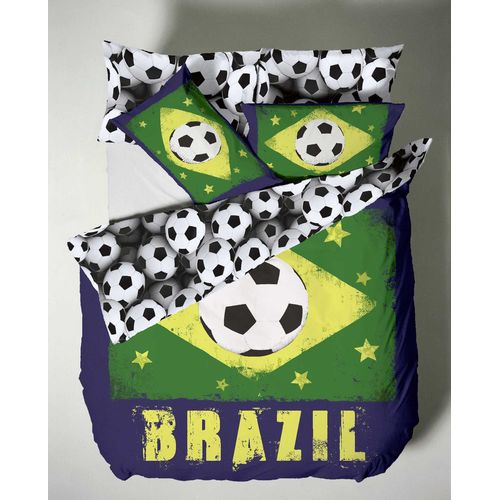 Catherine Lansfield Football Bedding Double Bed Quilt Set - Brazil