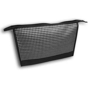 Wash Bag Single Zipped - Black & White Dogtooth