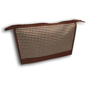 Brown & White Single Zip Dog Tooth Wash Bag