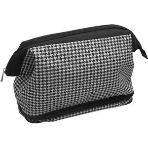 Wash Bag Gladstone Zipped - Black & White Dogtooth