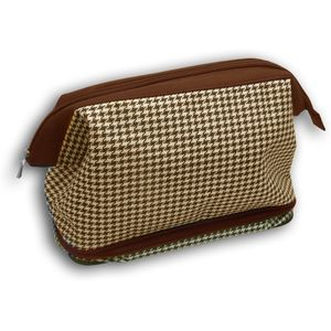Wash Bag Gladstone Zipped - Brown & White Dogtooth