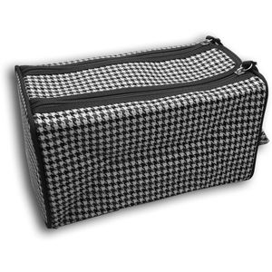 Wash Bag Double Zipper - Black & White Dogtooth