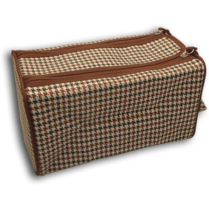 Wash Bag Double Zipped - Brown & White Dogtooth