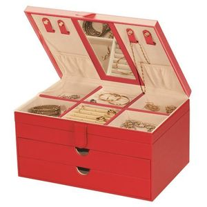 Mele & Co Victoria Red Bonded Leather Jewellery Box