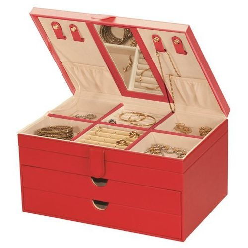 Mele & Co Bonded Leather Jewellery Box  - Victoria Red