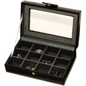 Black Leatherette Gents Cuff Link Box
