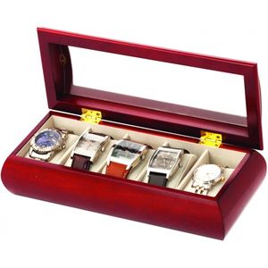 Cherry Wood Finish Watch Box Holds 5 watches