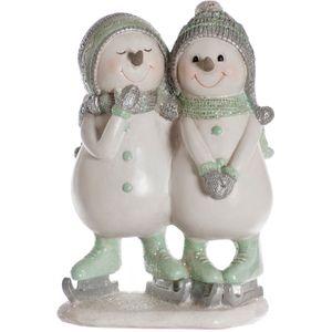 Christmas Decoration - Ice Skating Snowmen Couple Figurine