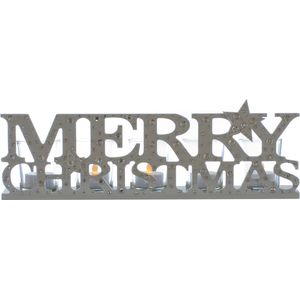 Silver Merry Christmas Tealight Candle Holder